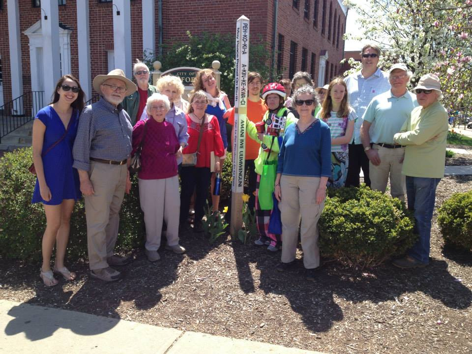 OCPJ members and friends in attendance for the official dedication of the new Peace Pole during Earthfest 2014.